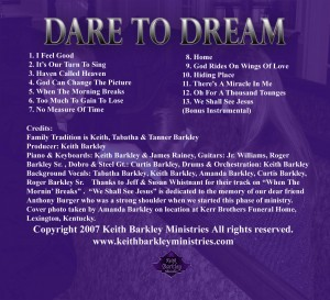 Dare To Dream Website Back